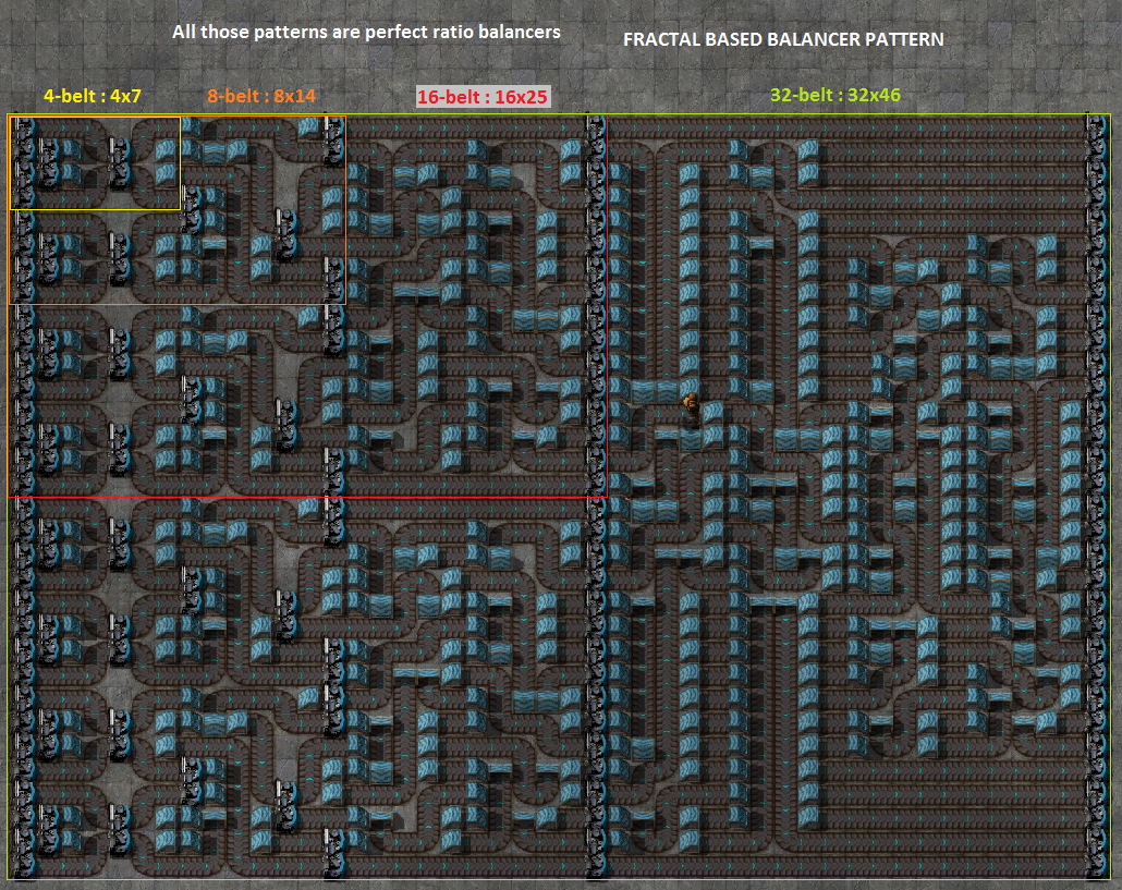 ... ratio balancer based on fractal pattern by DraKounet in factorio